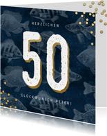 Stilvolle Glückwunschkarte 50. Geburtstag mit Fischen