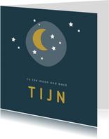 Stoer donkerblauw geboortekaartje met maan en sterretjes