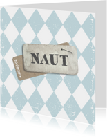 Stoer geboortekaartje label Naut