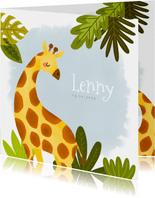 Stoer geboortekaartje met giraffe, plantjes en waterverf