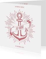 Stoer geboortekaartje voor een meisje met anker