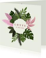 Stoer geboortekaartje voor een meisje met tropische planten