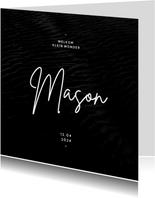 Stoer geboortekaartje zwart textuur minimalistisch