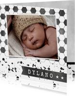Stoer voetbal geboortekaartje met spetters en foto