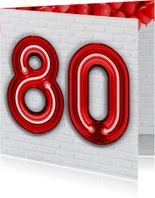 Verjaardagskaarten - Stoere industriële kaart 80 jaar in rode neon cijfers