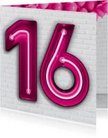 Stoere industriële kaart met 16 in roze neon cijfers