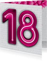 Stoere industriële kaart met 18 in roze neon cijfers