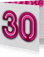Verjaardagskaarten - Stoere industriële kaart met 30 en roze neon cijfers