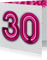 Stoere industriële kaart met 30 en roze neon cijfers