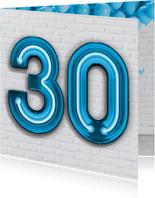 Verjaardagskaarten - Stoere industriële kaart met 30 in neon cijfers