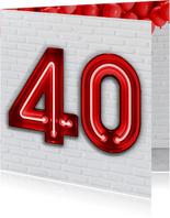 Stoere industriële kaart met 40 in rode neon cijfers
