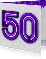 Verjaardagskaarten - Stoere industriële kaart met 50 in neon cijfers