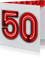 Stoere industriële kaart met 50 in rode neon cijfers