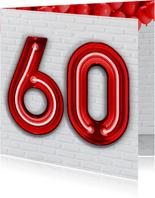 Verjaardagskaarten - Stoere industriële kaart met 60 in rode neon cijfers