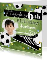 Stoere kaart met voetbal confetti en foto