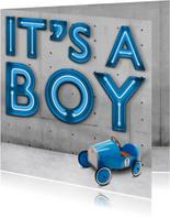 Geboortekaartjes - Stoere Neon Geboortekaart met auto voor jongen