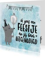 Stoere uitnodiging verjaardag 'Ik geef een feestje...'