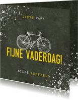 Stoere vaderdag kaart fijne vaderdag met fiets en spetters