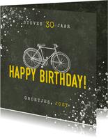 Stoere verjaardagskaart happy birthday fiets en spetters