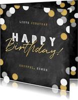 Stoere verjaardagskaart krijtbord, confetti & happy birthday