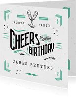 Stoere verjaardagskaart man cheers verjaardag typografie