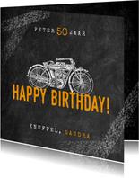 Stoere verjaardagskaart man met motor en happy birthday!