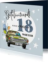 Stoere verjaardagskaart met auto, ballonnen en foto