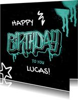 Stoere verjaardagskaart met naam in graffiti stijl