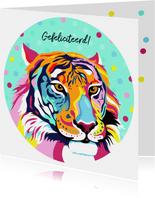 Stoere verjaardagskaart tijger met bloemen en confetti