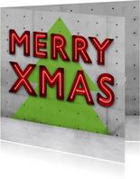 Stoere vierkante kerstkaart met neon letter
