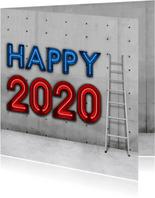 Stoere vierkante nieuwjaarskaart 2020 met neon