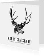 Stoere zakelijke kerstkaart met een illustratie van rendier