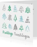Strakke kerstkaart met patroon kerstbomen