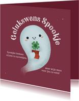 Succes kaart - Gelukswens Spookje met klavertje vier