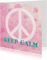 Succes kaart peace aquarel roze