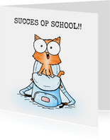 Succes kaart poes in schooltas - Succes op school!