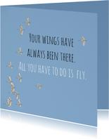 Succes kaart vogels fly