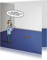 Succes met verbouwing kaart met grappige cartoon