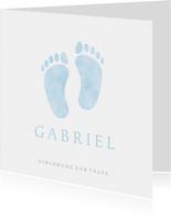 Süße Einladung zur Taufe hellblaue Fußabdrücke Foto innen