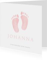 Süße Einladung zur Taufe rosa Fußabdrücke Foto innen