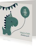 Süße Glückwunschkarte mit Dinosaurier und Luftballon