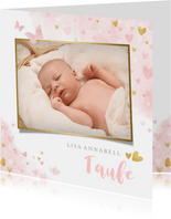 Süße Taufeinladung Foto & Herzen auf Aquarell