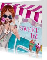 Sweet 16 Strand Zee Feest Illustratie