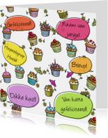taartjes met tekstballon