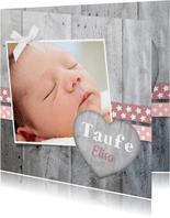 Taufeinladung Foto und Holzherz rosa Bänder