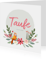 Taufeinladung mit Blumen und Vogel