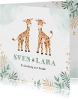 Taufeinladung Zwillinge mit zwei niedlichen Giraffen