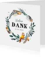Taufkarte Danke Feder-Blumenkranz und Vogel