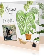 Toffe verhuiskaart samenwonen met botanische planten