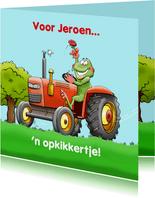 Trekker met opkikkertje voor agrariër, boer of kind